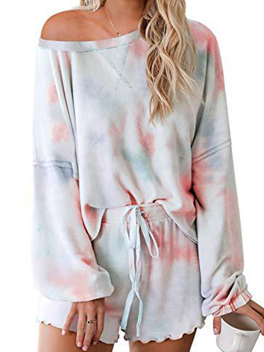 BerryLook Tie-dye printed casual sports long sleeve shorts suit