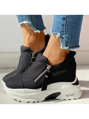 All-match thick-bottomed inner zipper fashion sneakers фото