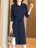 Image of Lace-Up Waist Solid Color Knitted Dress