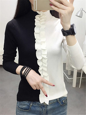 Commuting High Collar Patchwork Long Sleeve Pullover Sweater, 10586960