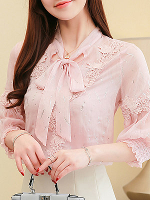 Tie Collar Patchwork Three-quarter Sleeve Blouse, 11589252