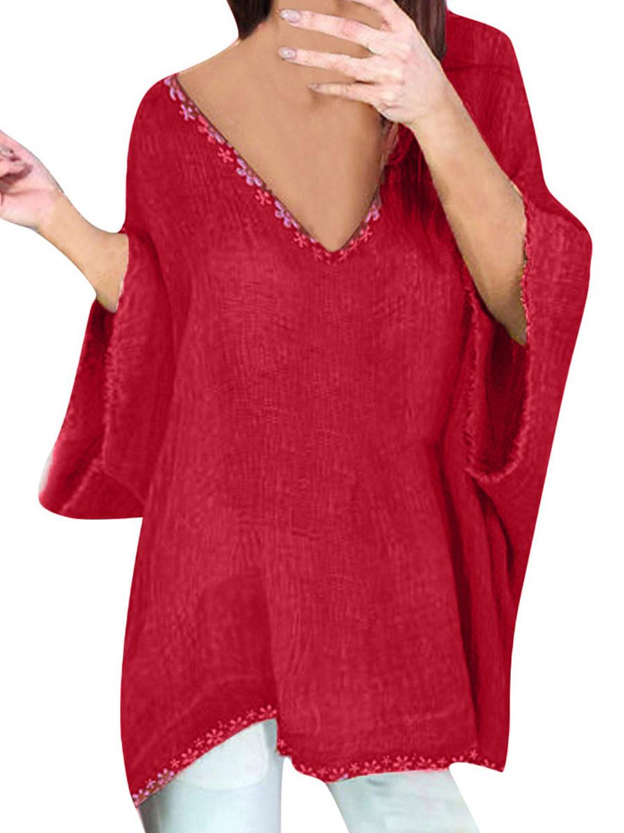 V Neck Lace Patchwork Three-quarter Sleeve Linen T-shirt