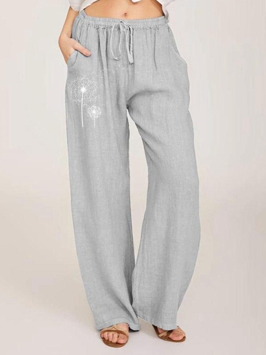 BerryLook Dandelion Printed Casual Cotton And Linen Pants