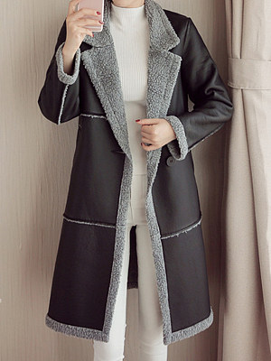 Women's Fashion Lapel Leather Coat gender:female, season:autumn,winter, collar:lapel collar, texture:pu leather, sleeve_length:long sleeve, sleeve_type:regular sleeve, style:japan and south korea, dress_occasion:daily, bust:96,clothing length:98,shoulder width:39,