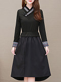Image of Knitted Fake Two-Piece Long-Sleeved V-Neck Dress