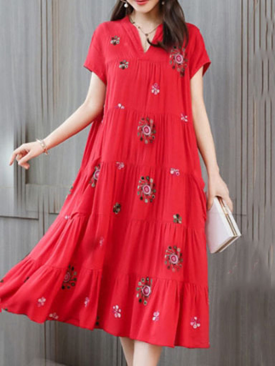 Womens Short-sleeved Pocket Large Size Printed Maxi Dress