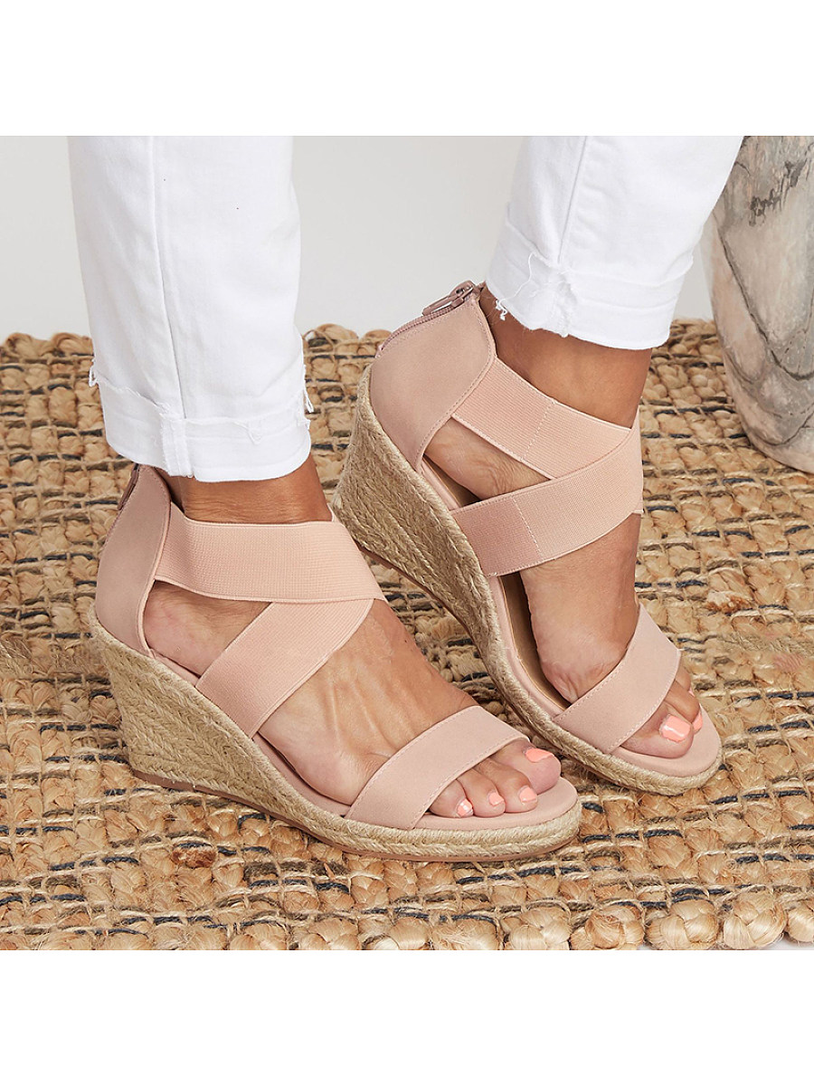 Women Solid Color Non-slip Wedge Sandals