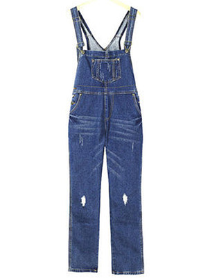Fashion hole loose loose casual suspender one-piece overalls