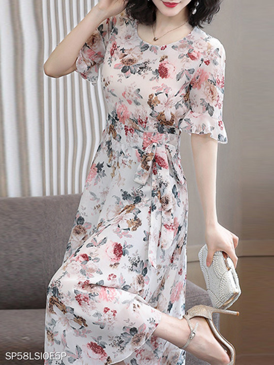 Fashion long floral elegant dress with big swing