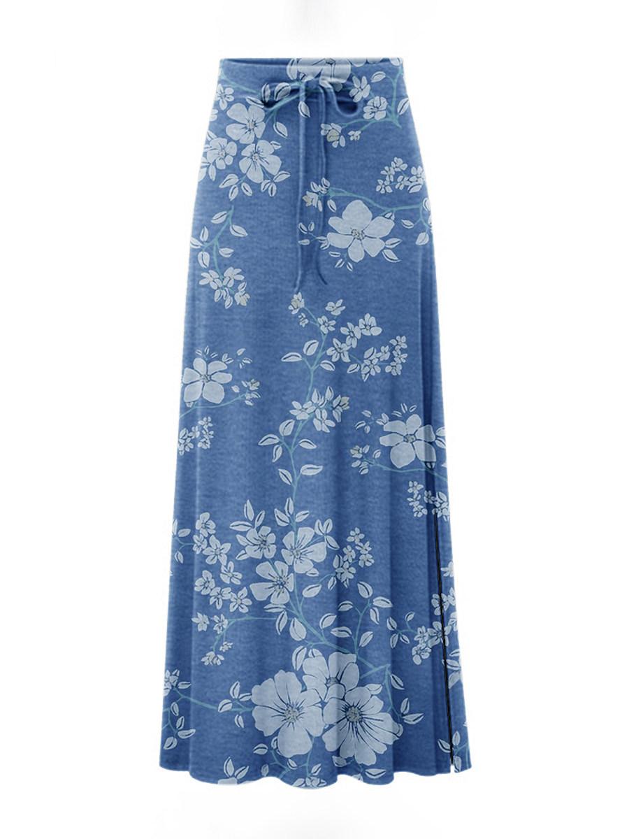 Fresh blue printed lace skirt