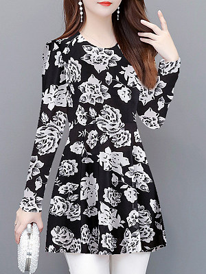 Round Neck Floral Long Sleeve T-Shirt, 11203812