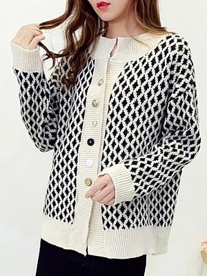 V Neck Casual Long Sleeve Knit Cardigan, 10446583