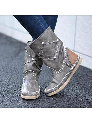 Fashionable and comfortable flat rivet low boots, 25386746