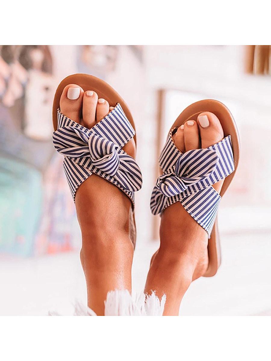 BerryLook Women's Comfort Flat Striped Bow Slippers