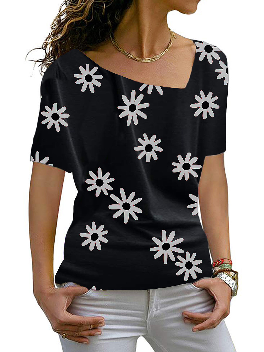 Asymmetric Neck Flower Print Block Short Sleeve T-Shirt