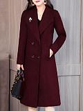 Image of Mid-Length Over-The-Knee Woolen Coat