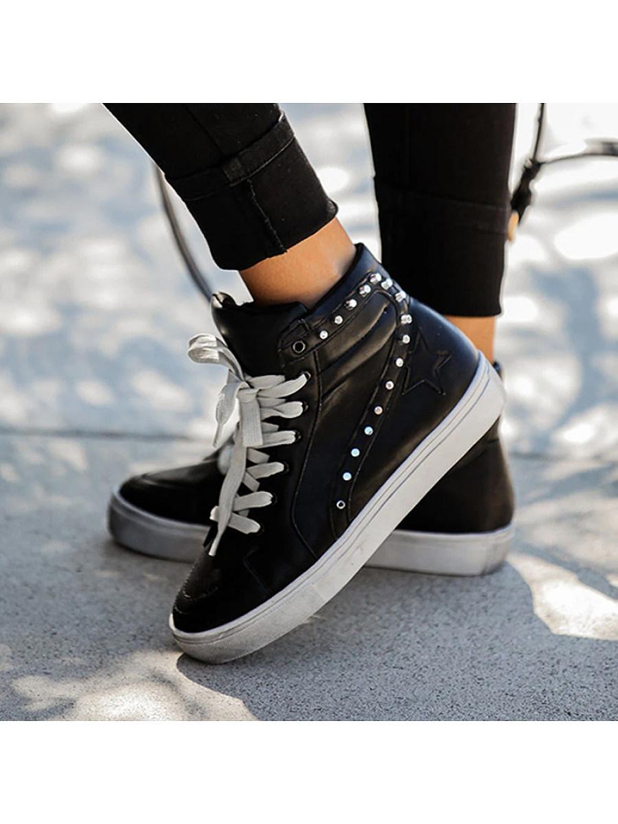 Fashion Women High Top Rivet Flat Sneakers