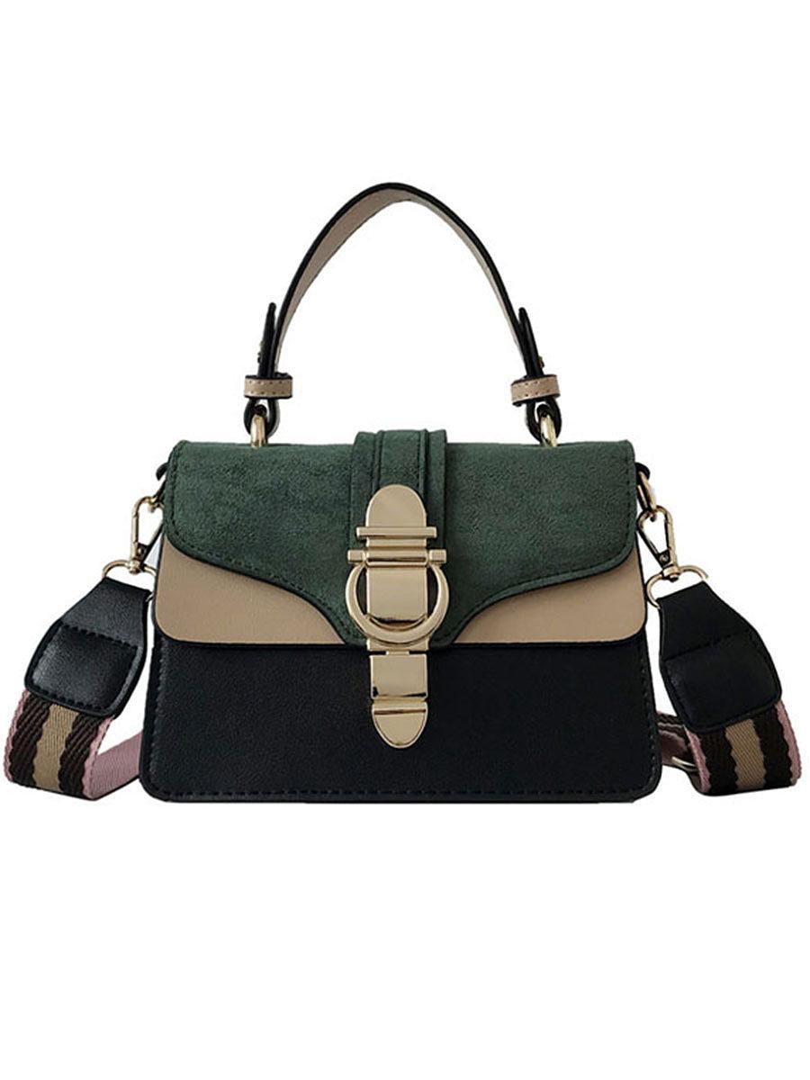 Fu Jiani 2020 spring new fashion hit color small square bag Korean lock wild shoulder Messenger bag