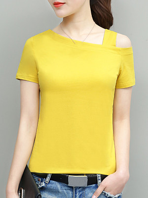 Round Neck Plain Short Sleeve T-shirt, 11307357