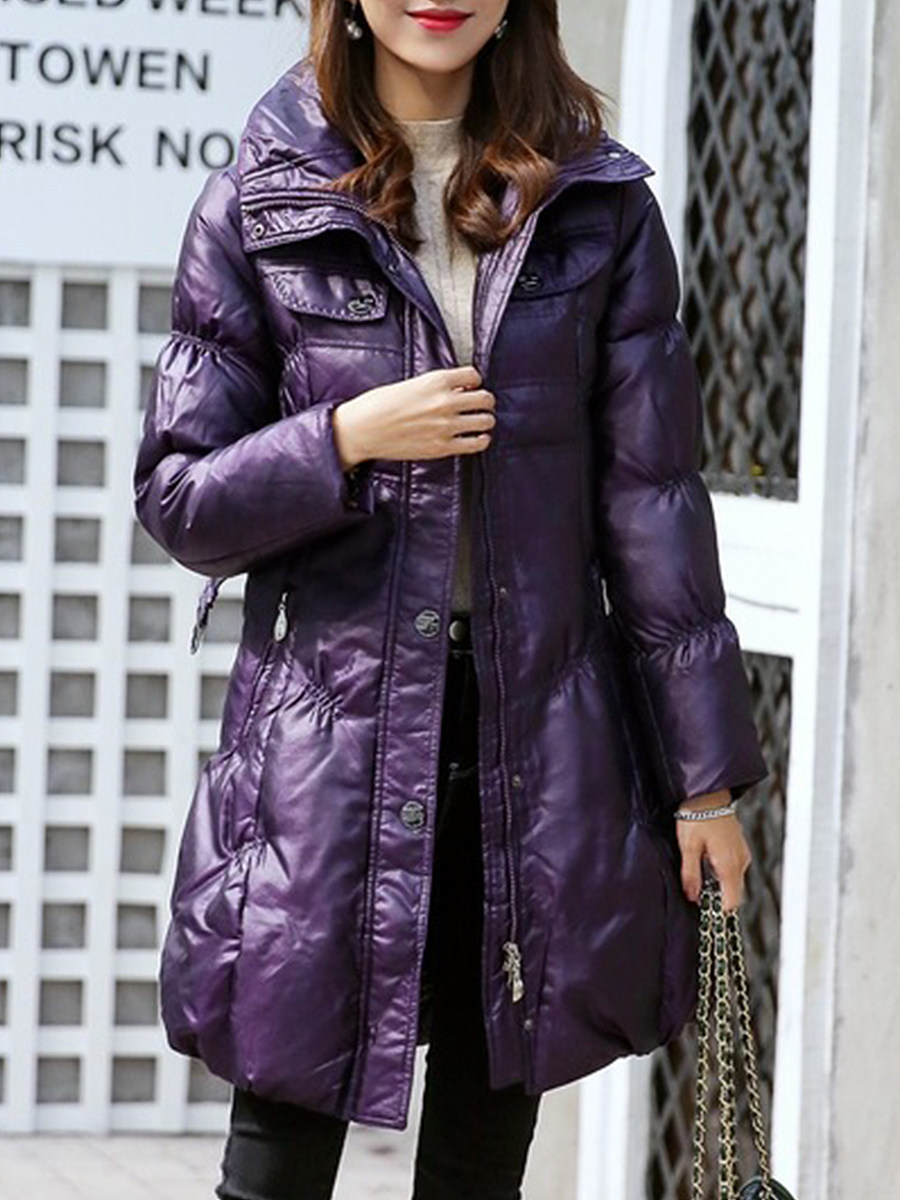 Fashion hooded solid color slim belt thickened down coat - from $28.95