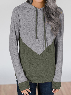 Women Casual Hooded Color Matching Sweatshirt gender:female, season:autumn,winter,spring, collar:sweater with cap, texture:polyester, sleeve_length:long sleeve, style:japanese and korean style, dress_occasion:daily, bust:115,clothing length:76,