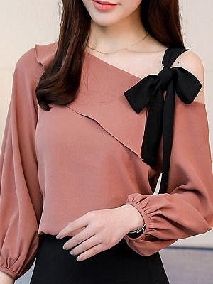 Open Shoulder Patchwork Plain Long Sleeve Blouse, 11101031