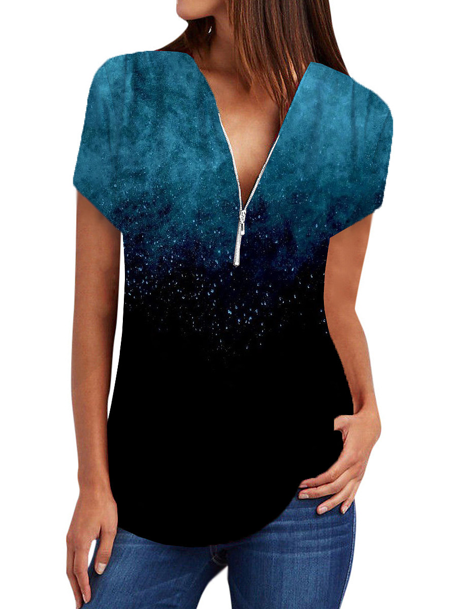 BerryLook V Neck Zips Print Short Sleeve Blouse