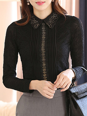 Turn Down Collar Patchwork Lace Long Sleeve Blouse, 11106584