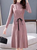 Image of Knit Long Sleeve Slim Two-piece Dress