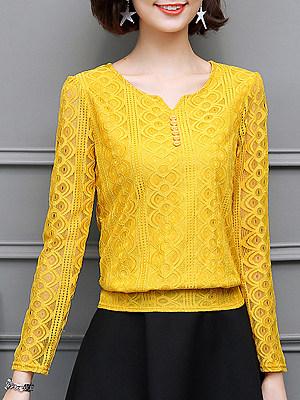 V neck Lace Elegant Plain Long Sleeve Blouse, 10132970