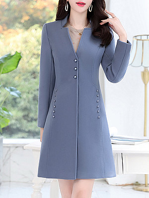 Women's Fashion Solid Color Long Sleeve Slim Coat gender:female, colour:blue, season:autumn,winter,spring, texture:polyester, sleeve_length:long sleeve, sleeve_type:regular sleeve, style:leisure, collar_type:henry collar, laundry_guide:machine washable, dress_occasion:daily, bust:112,clothing length:94,shoulder width:42,