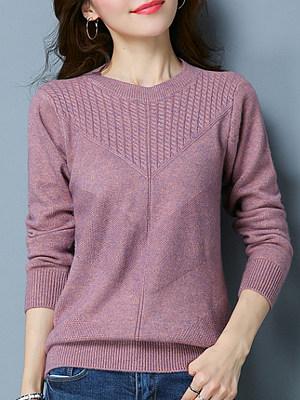 Short High Collar Elegant Plain Long Sleeve Knit Pullover, 10260609