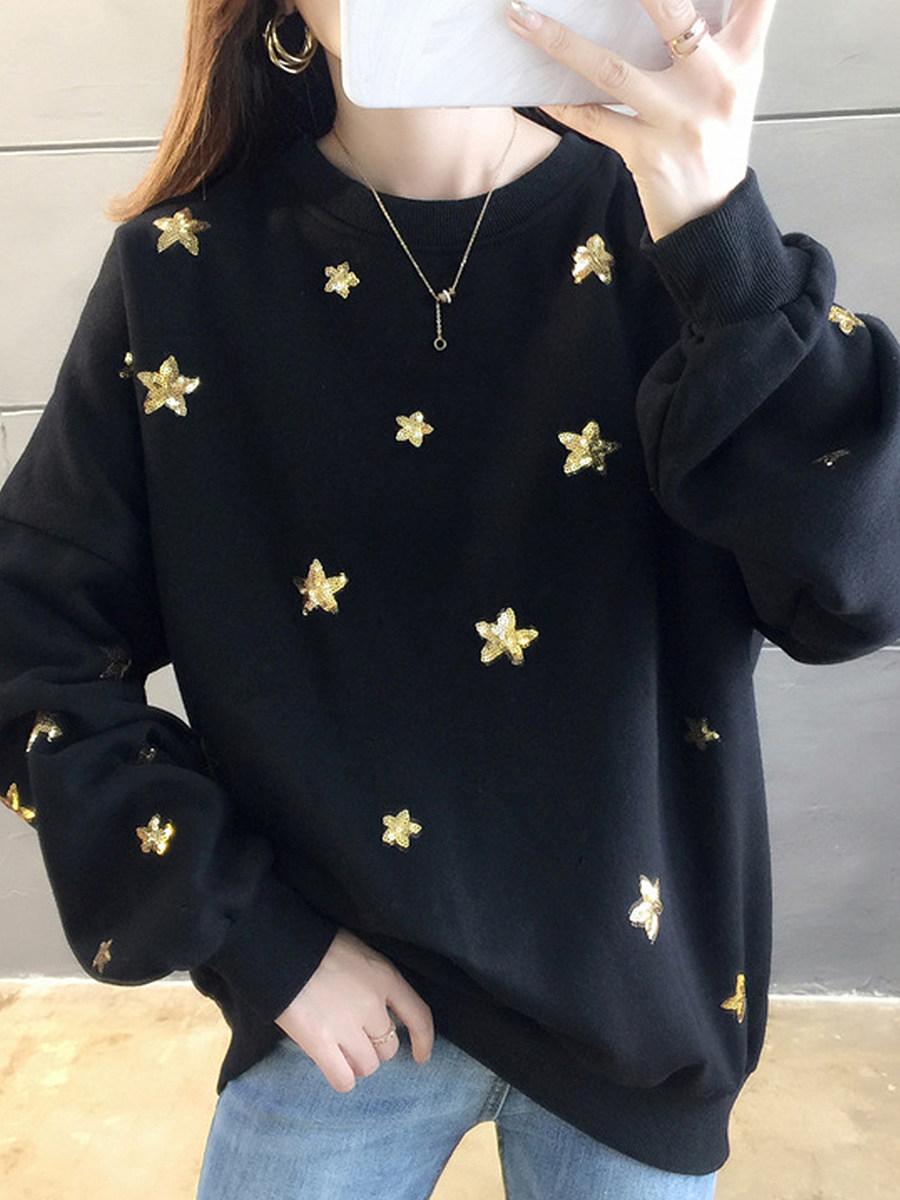 Fashion Crew Neck Print Sweatshirt