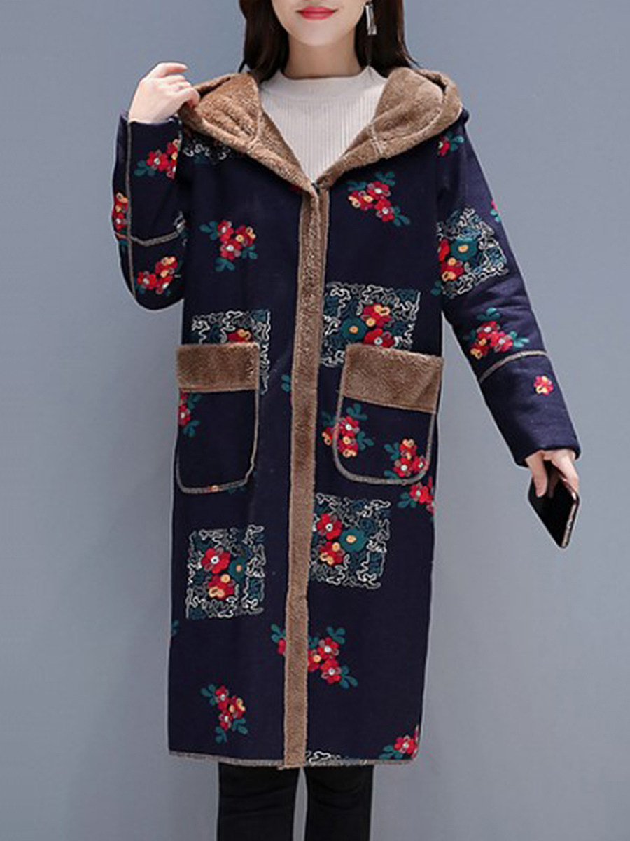 Stylish Long Sleeve Printed Pocket Hooded Overcoat - from $30.95