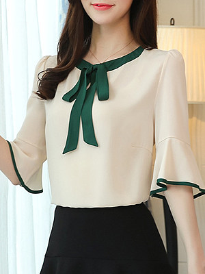 Round Neck Patchwork Bell Sleeve Blouse, 11105394