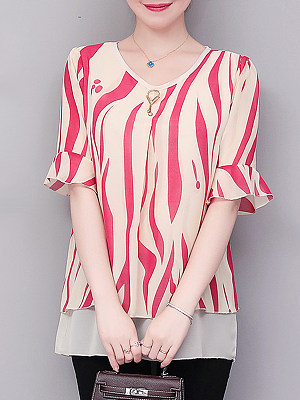 Round Neck Printed Short Sleeve Blouse, 11265641