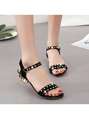 Fashion ladies rivet peep-toe low-heel sandals