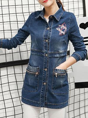 Mid-length printed denim jacket фото