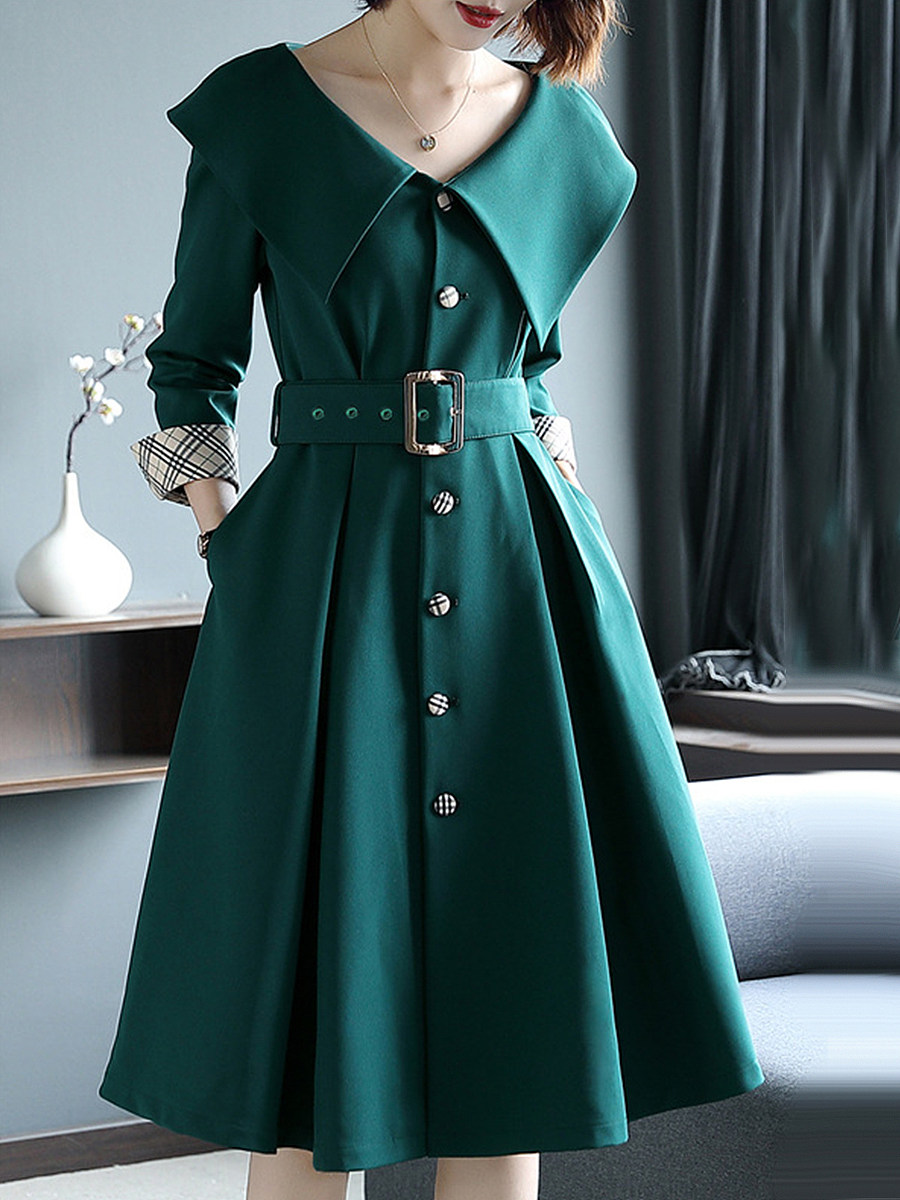 Elegant Solid Color Slim Doll Collar Buttoned Dress - from $28.95