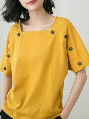 Square Collar Buttons Plain Short Sleeve T-shirt, 23703701