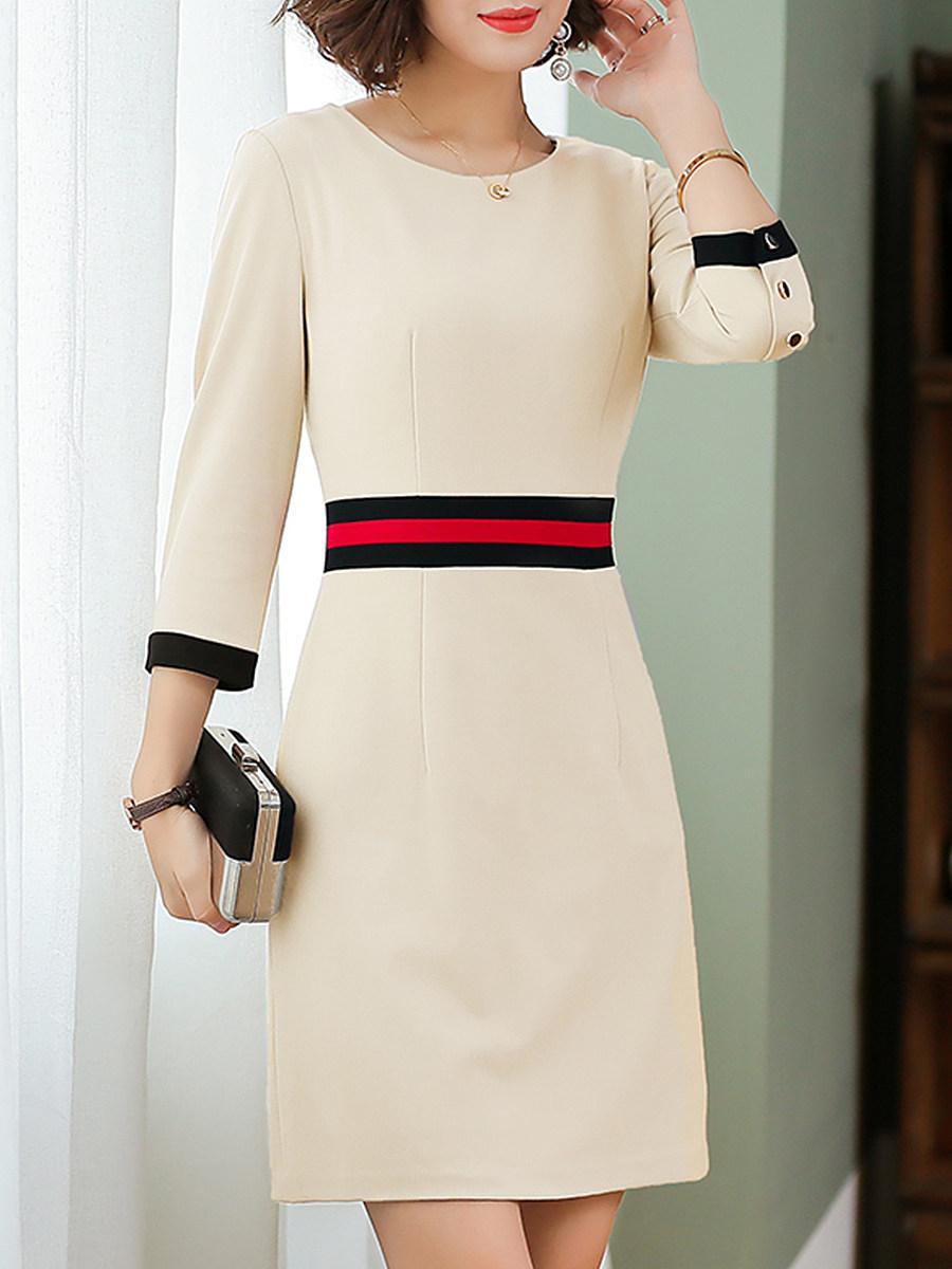 BerryLook Round Neck Color Block Bodycon Dress