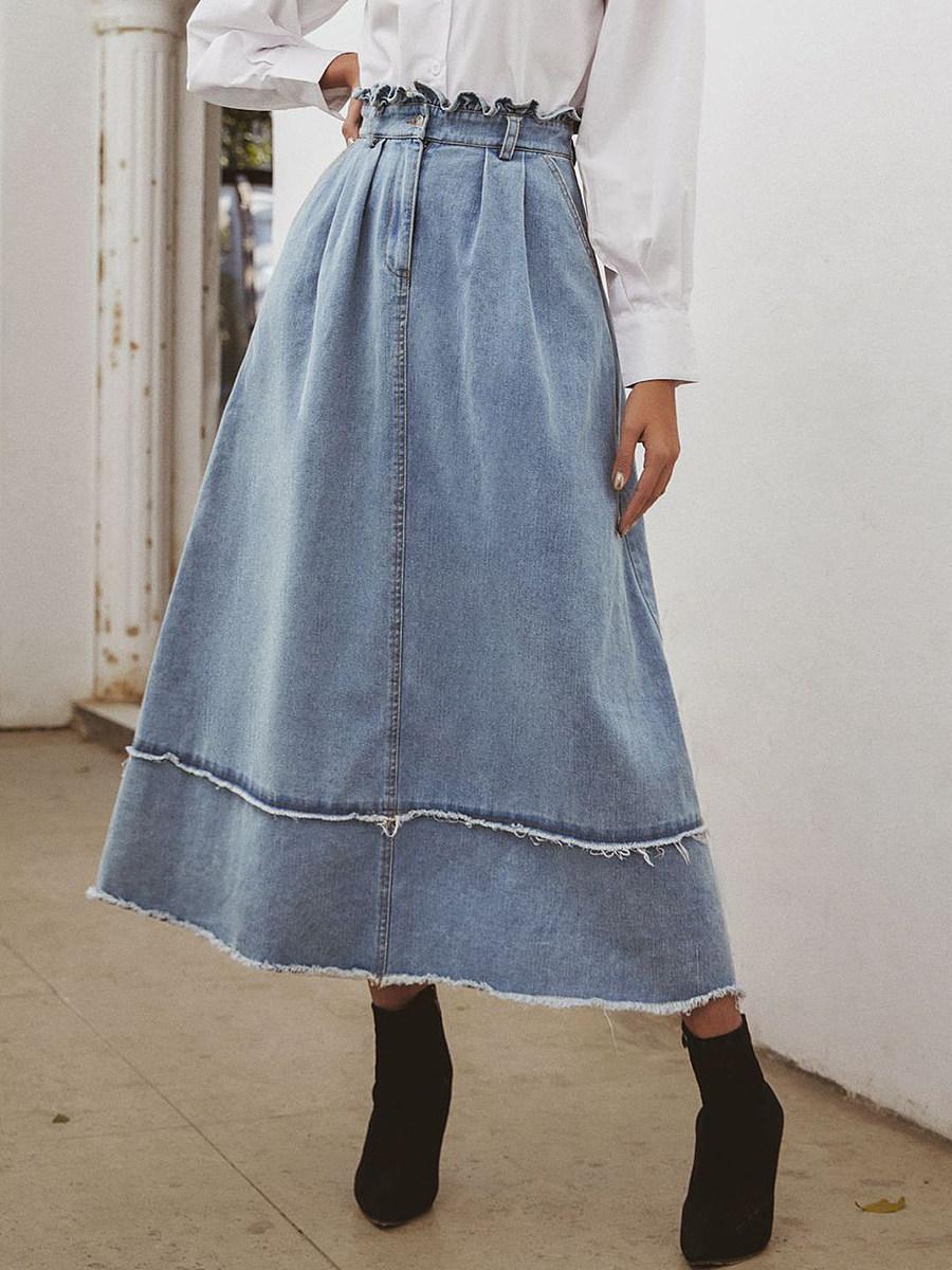 Fashion high-waisted denim skirt