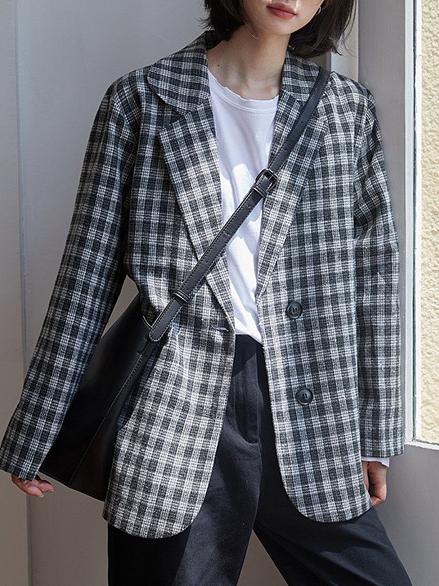 Tempered Collar Check Blazer