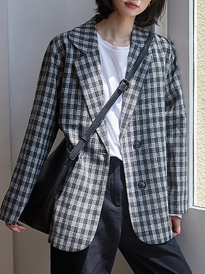 Tempered Collar Check Blazer фото