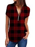 Image of V Neck Zips Plaid Short Sleeve Blouse
