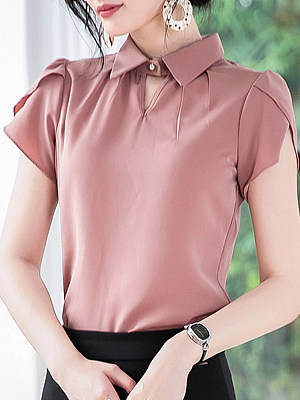 Turn Down Collar Plain Short Sleeve Blouse, 23587558