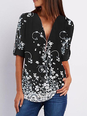 V Neck Zips Print Roll-Up Sleeve Long Sleeve Blouse, 25212281