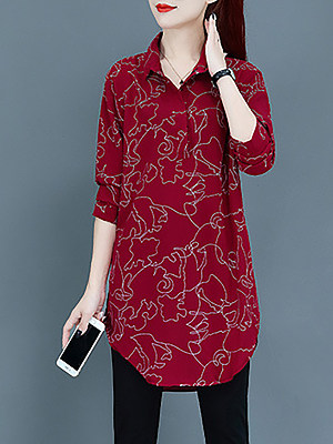 Turn Down Collar Casual Printed Long Sleeve Blouse, 10707091