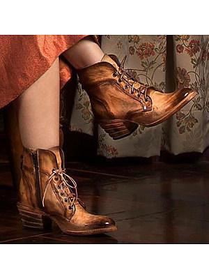 berrylook Fashion Side Zipper Mid Heel Women's Boots