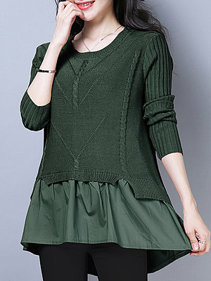 Round Neck Patchwork Fake Two-Piece Knit Pullover, 10521674